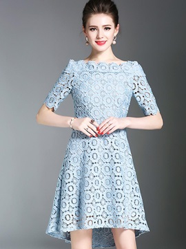 Chic Blue Short Sleeve Womens Lace Dress