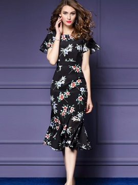 Chic Floral Imprint Short Sleeve Short Day Dress