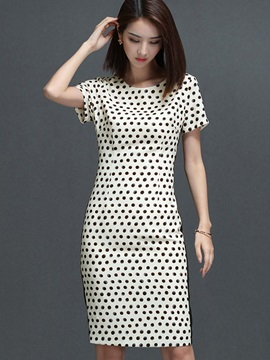 Polka Dots Short Sleeve Womens Bodycon Dress