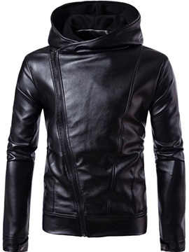 Hooded Pu Solid Color Oblique Zipper Mens Jacket