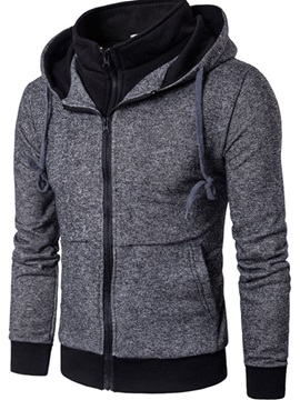 Hooded Lace Up Patchwork Color Block Mens Hoodie