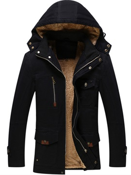Hooded Zipper Solid Color Mens Jacket