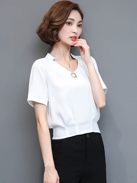 Chic Plain V Neck T Shirt