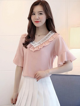 V Neck Hollow Falbala Chiffon Blouse