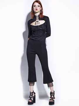 Slim Ankle Length Mesh Patchwork Womens Bellbottoms