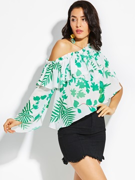 One Off Shoulder Falbala Floral Blouse