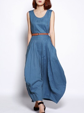 Jeans Round Neck Sleeveless Womens Maxi Dress