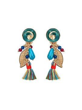 Trumpet Shaped Colorful Thread Turquoise Stone Balls Alloy Leaf Tassel Earrings