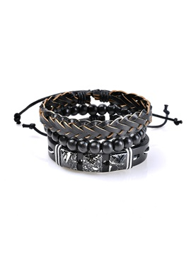 Leather Woven Rope Wooden Beads Irregular Stone Group Bracelets Bangles