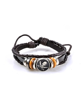 Skull Pu Leather Woven Rosary Bracelets Bangles