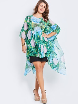 Plus Size Chiffon Print Irregular Blouse