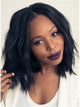 African American Slight Wave Synthetic Capless Center Parting Hairstyle Wigs 12 Inches
