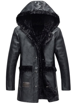 Hooded Patchwork Single Breasted Mens Coat