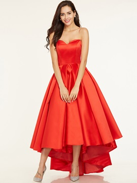 A Line Sweetheart Pleats Asymmetry Prom Dress