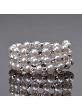 Three Layer Pearls Diamante Wedding Bracelets Bangles