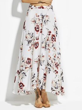 Flower Print Ankle Length Chiffon Womens Skirt