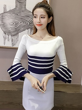 Slim Stripe Patchwork Bell Sleeve Knitwear
