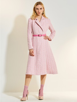 A Line Notched Lapel Houndstooth Belt Trench Coat