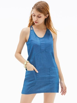 Denim Pocket Patchwork Womens Bodycon Dress