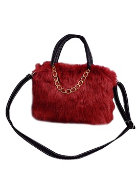 Solid Color Chain Adornment Plush Handbag