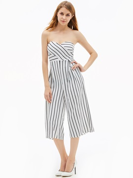 Slim Stripe Backless Wide Legs Womens Jumpsuit