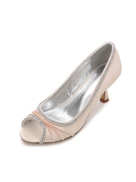 Silk Fabric Rhinestone Peep Toe Simple Wedding Shoes