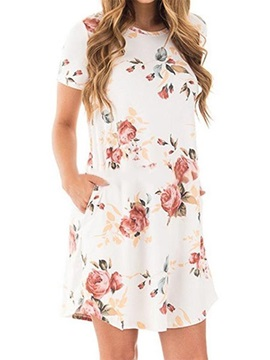 Floral Short Sleeves Short Womens Dress