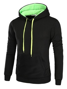 Hooded Color Block Lace Up Pullover Mens Hoodie