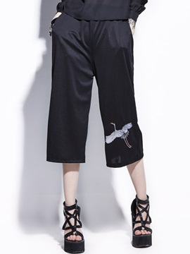 Mid Calf Crane Embroideried Wide Legs Womens Pants