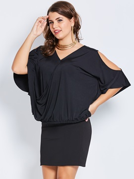 Plus Size V Neck Cold Shoulder T Shirt