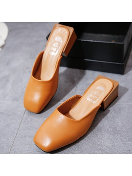 Pu Closed Toe Slip On Block Heel Sandals
