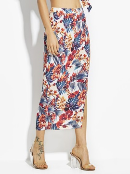 Plant Print Chiffon Ankle Length Womens Skirt
