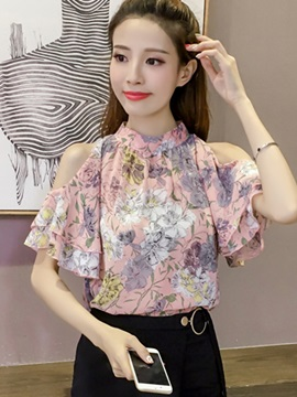 Chiffon Cold Shoulder Floral Falbala Blouse