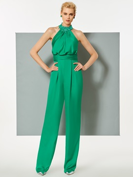Attractive Sheath Halter Beaded Evening Jumpsuits