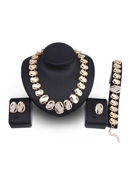 Creative Geometric Patchwork Alloy Rhinestone European Jewelry Sets