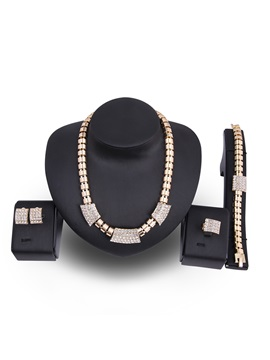 Box Chain Rectangle Full Drill Casual Alloy Anniversary Jewelry Sets