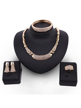 Full Drill Bowknot Chain Metal Vintage Jewelry Sets