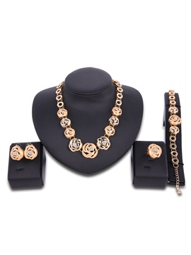 Full Annulus Flowers Diamante Rose Golden Charming Party Jewelry Sets