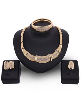 Alloy Diamante Bamboo Chain Geometric Polishing European Jewelry Sets