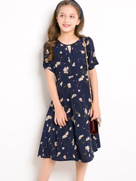 Sweet Flower Printed Short Sleeves Pleated Girls Dress
