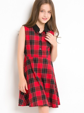 Red And Black Plaid Button Front Girls Dress
