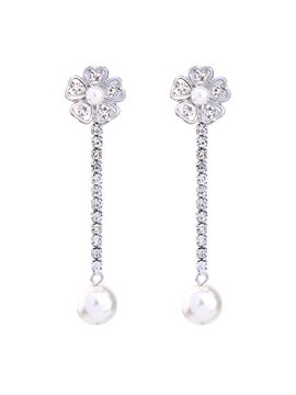 Cute Flower Pearls Full Drill Pure Bright Drop Earrings