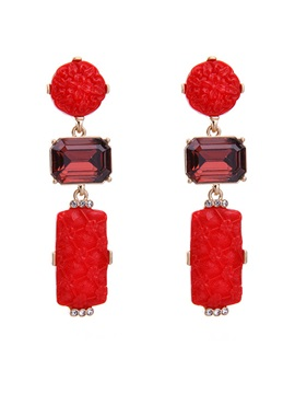 Carving Flowers Colorful Stone Imitation Diamond Plastic Ethnic Drop Earrings
