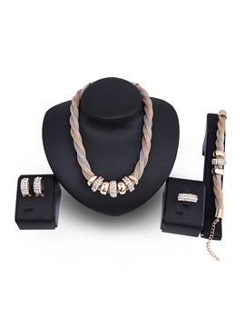 Rings Bunch Pendant Rhinestone Twist Shape Chain Alloy Vintage Jewelry Sets