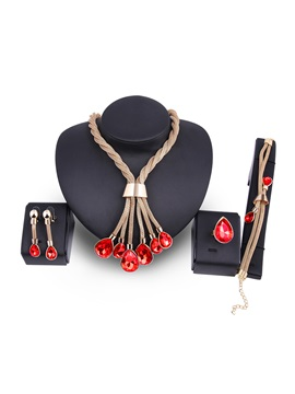 Purple Stone Tassel Snake Chain Water Drop Pendant Jewelry Sets