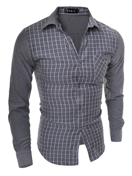 New Slim Fashion Lattice Mens Shirts