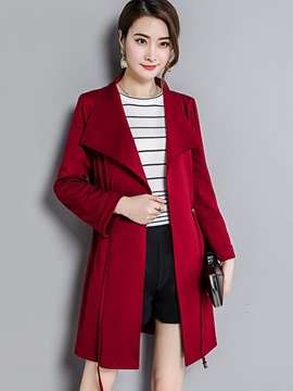 Chic Plain Lapel Trench Coat