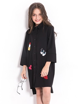 Fashion Letter And Lips Printed Shirt Like Long Sleeve Button Front Girls Dress