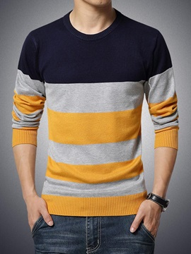 Fashion Multicolor Simple Stripe Mens Sweater