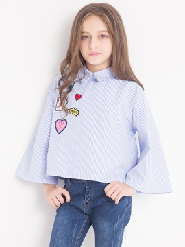 Fashion Loose Sleeves Back Bowknot Heart And Number Printed Girls Shirt